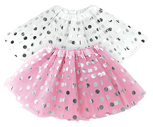 Best Costume For A Halloween Party (Tutu for Toddler Girls Polka Dot Pink & White Tutu Skirt Set - Tulle Skirts Toddlers/Two Tutus - Easter Gift, Girl Dress Up Birthday Party Spring, Halloween)