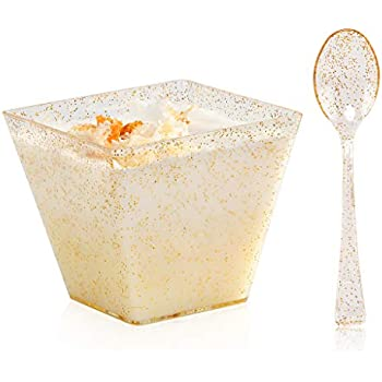 WDF 48pack 7oz Gold Glitter Medium Large Plastic Dessert Cups With Spoons-48 Disposable Ice Cream Plastic Cups /& 48 Gold Glitter Tasting Spoons