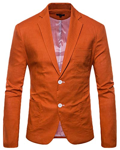 Bouton Anyua Slim Costume Un Homme Business Blazer Elegant Orange Fit Casual Fw8FrAq