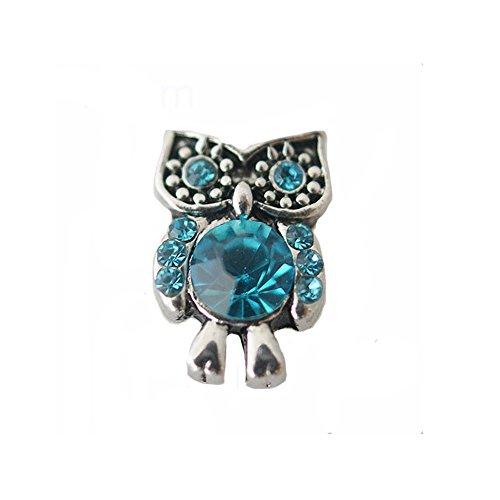 "Chunk Snap Charm Owl Turquoise Rhinestones Mini Petite 12mm 1/2"" Diameter"