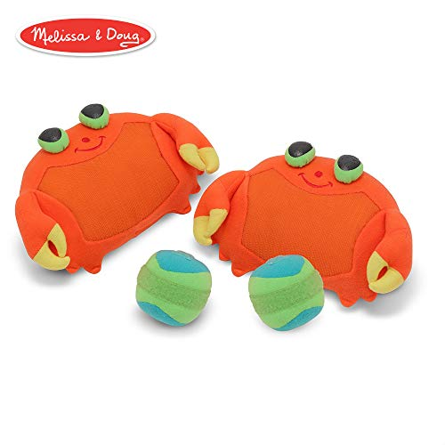 Melissa & Doug Sunny Patch Clicker Crab Toss and Grip Catching Game With 2 Balls (Fun Tennis Games For 5 Year Olds)