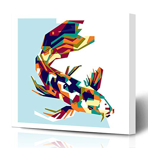 Ahawoso Canvas Prints Wall Art Printing 12x16 Gray Abstract Colorfully Koi Fish Animals Wildlife Architecture Composition Cool Creative Graphics Painting Artwork Home Living Room Office Bedroom Dorm (Koi Animal Print)