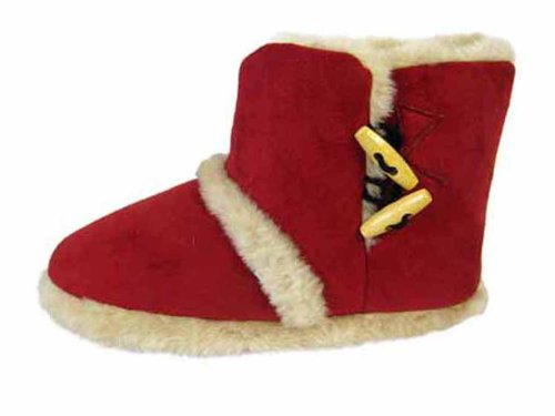 Boot Bootee 4 Toggle 3 Furry Girls Small UK Coolers Slippers Ankle Ladies 3 8 Sizes Beige 6qXYw1