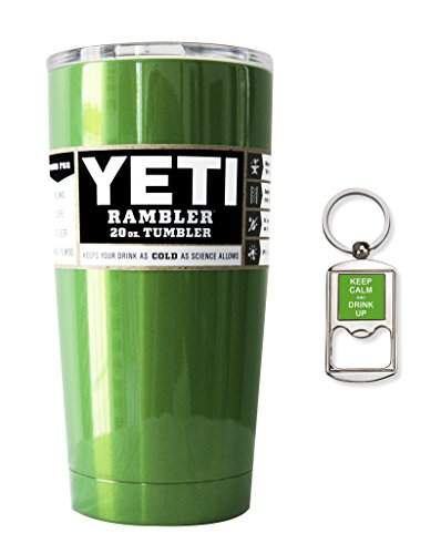 YETI Coolers Custom Powder Coated 20 Ounce (20oz) Rambler Tumbler Cup Mug with Bottle Opener Keychain - Insulated Stainless Steel - Keeps your beverage hot or cold for hours