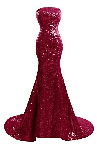 Long Dresses Sequined Bess Formal Strapless Women's Prom Burgundy Bridal Mermaid nxFn7wCH1a