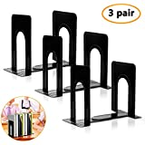 Bookends, Black Metal Nonskid Bookend Supports for Shelves Heavy Duty Books End, Office Book Stopper, 6 x 5 x 6 Inches, 6 Pieces (3 Pairs) (Black)