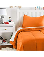 AmazonBasics Easy-Wash Microfiber Kid's Comforter and Pillow Sham Set - Twin, Bright Orange