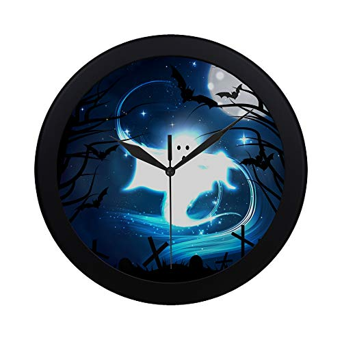 Modern Simple Vector Illustration Of The Concept Of Halloween T Pattern Wall Clock Indoor Non-ticking Silent Quartz Quiet Sweep Movement Wall Clcok For Office,bathroom,livingroom Decorative 9.65 -