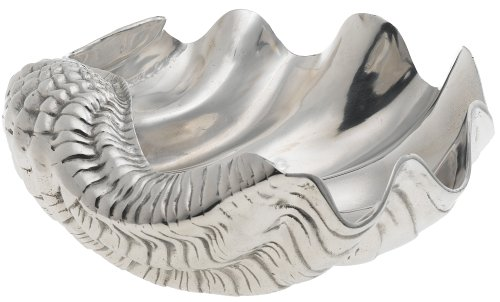 Coastal Christmas Tablescape Décor - Premium silver aluminum alloy giant clam shell bowl by Arthur Court Designs