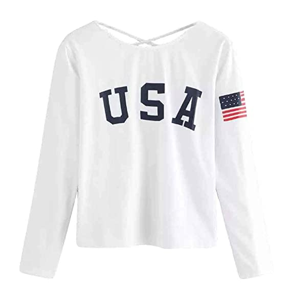 Lenfesh Camisas Mujer, USA Blusa Cuello Redondo de Manga Larga de Mujeres Chica Camisas de Otoño Pullover Camisetas Jerséy: Amazon.es: Ropa y accesorios