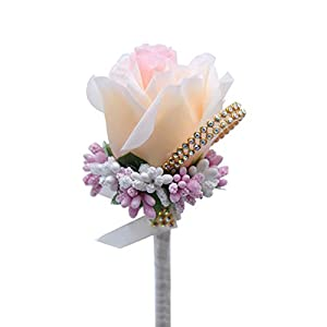 Bigmai 1Pcs Artificial Rose Boutonniere Bouquet Groom Corsage Fake Flower for Prom Party Wedding 30