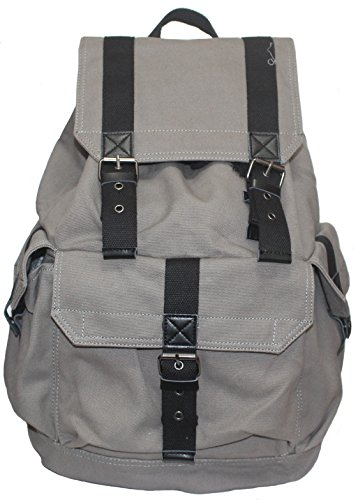 Yukisky 5105 Specially High Density Thick Canvas Backpack Rucksack – Gray For Sale