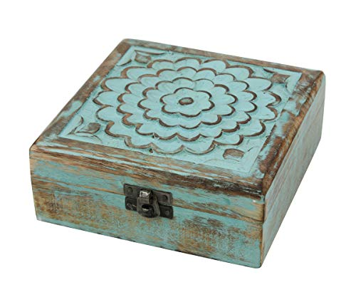 Stonebriar clásico llevar azul floral caja de recuerdos de madera con tapa con bisagras, almacenamiento para abalorios y...