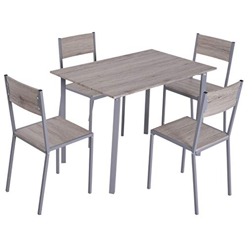 HOMCOM 5 Piece Modern Compact Kitchen Dining Room Table and Chairs Set (Piece 5 Grey Dining Set)