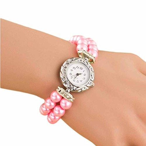 AMA(TM) Women Girls Fashion Pearls Band Wristwatch Quartz Bracelet Watches (Christmas Bangle Watch)