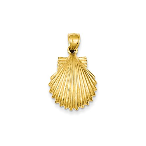 ICE CARATS 14k Yellow Gold Scallop Sea Shell Mermaid Nautical Jewelry Pendant Charm Necklace Shore Fine Jewelry Ideal Mothers Day Gifts For Mom Women Gift Set From Heart (Yellow Seashell 14k Gold)