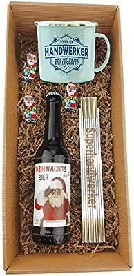 Caja de regalo de 3 piezas/X-MAS/cerveza/vasos/artesanos/metro plegable/Navidad/Papá/hombre/Papá Noel.: Amazon.es: Bricolaje y herramientas