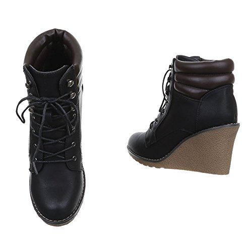 Stiefeletten Schwarz 36 Braun 39 Keil 38 41 Boots Schnür 37 Grau Schuhe Damen Wedges Schwarz 40 C1qxX