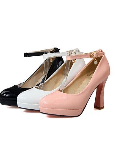 GGX/Damen Schuhe Patent Leder Chunky Ferse Heels/Schuhe Heels Office & Karriere/Casual Schwarz/Pink/Weiß pink-us9.5-10 / eu41 / uk7.5-8 / cn42