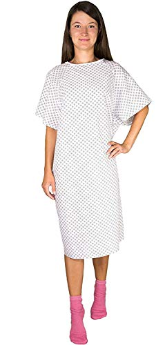 12 Pack - White Hospital Gown with Back Tie/Hospital Patient Robes with Ties - One Size Fits All - Wholesale (Patient Tie Gown)