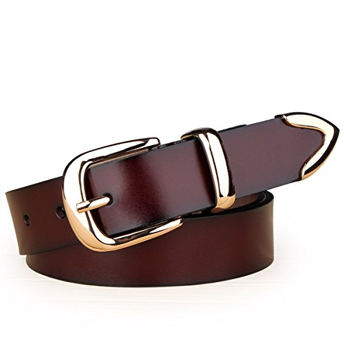 HAPPYTIMEBELT Women's Genuine Leather Belt with Gold Plated Buckle Easy to Adjust the Length(Coffee-S)
