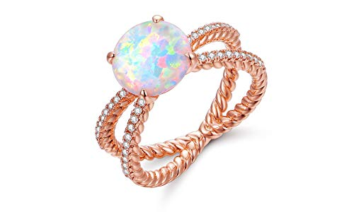 Barzel White Gold Plated or Rose Gold Plated White Opal & Cubic Zirconia Crisscross Braided Ring (Rose Gold, 7)