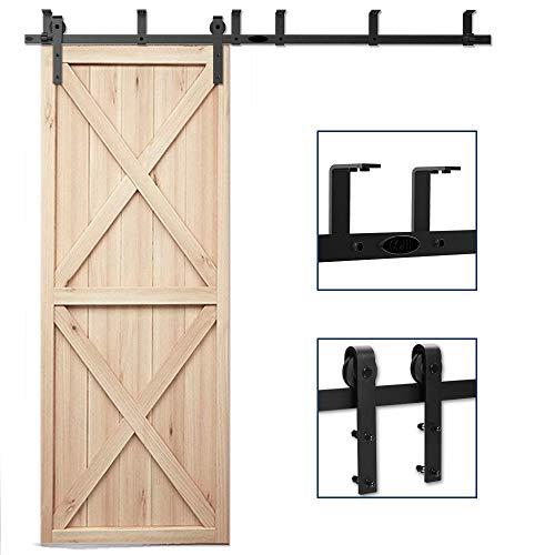 (CCJH 9FT Ceiling Mount Bracket Sliding Barn Door Hardware Kit Black,Strong Bearing, Low Ceiling L-Shape Bracket System, Fit 54