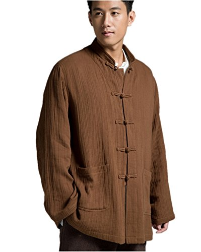 Katuo Chinese Traditional Men's Casual Shirt Blouse Meditation Outwear S-2XL (L, Coffee) by KATUO (Image #1)