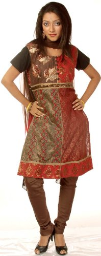 Sequined Salwar Kameez - Exotic India Brown and Red Chudidar Suit with Sequined Maple Leaves