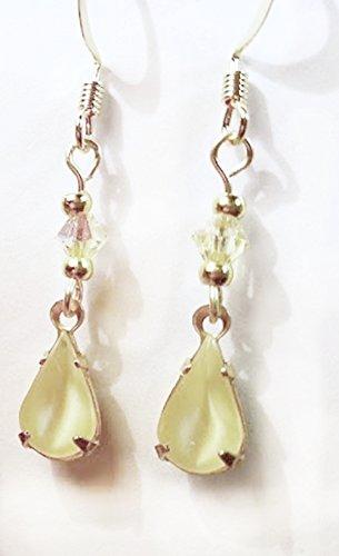 Moonstone Yellow Earrings - Light Yellow Moonstone Vintage Czech Rhinestone Drop Wire Earrings
