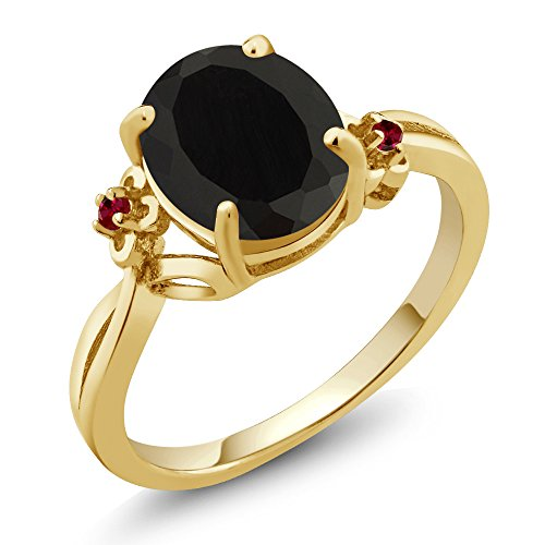 2.53 Ct Oval Black Onyx Red Created Ruby 14K Yellow Gold Ring (Ring Size 7) 14k Yellow Gold Onyx Ring