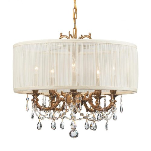 Crystorama Lighting 5535-AG-SAW-CLM Chandelier with Hand Polished Crystals and Silk Fabric Shades, Aged Brass