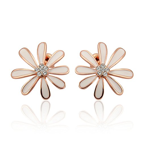 Waterford Collins Glass (Fashion Crystal White Daisy Rose Gold Plated Stud Earrings Women-Guillermo B.Randle)