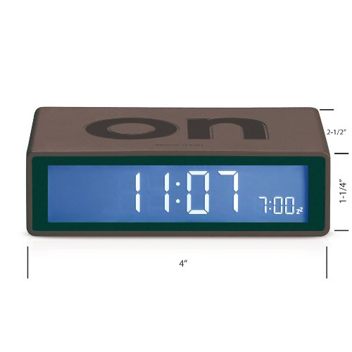 Lexon Flip On/Off Alarm Clock (Charcoal G3)