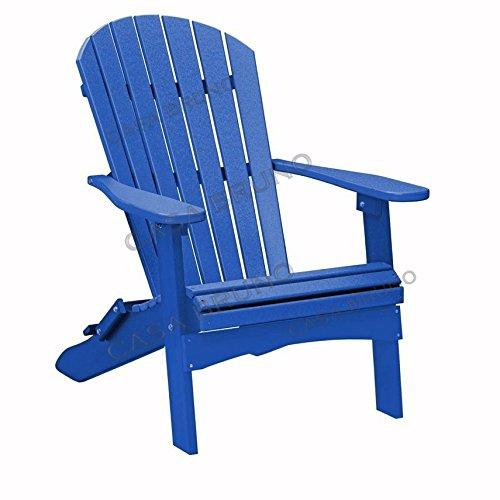 CASA BRUNO Original Oversized Alabama Adirondack Chair klappbar, aus recyceltem Polywood® HDPE Kunststoff, ozeanblau - kompromisslos wetterfest