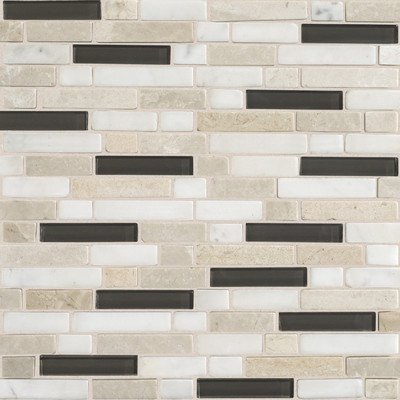 Daltile Glass - Daltile Stone Radiance Kinetic Khaki 11-3/4 in. x 12-1/2 in. x 8 mm Glass and Stone Mosaic Blend Wall Tile