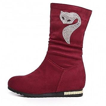 Heart&M Mujer Zapatos Semicuero Otoño Invierno Botas de Moda Botas Tacón Cuña Dedo redondo Botines/