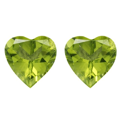 2.65-3.25 Cts of 8 mm AAA Heart Chinese Peridot ( 2 pcs ) Loose Gemstones by Mysticdrop (Image #1)