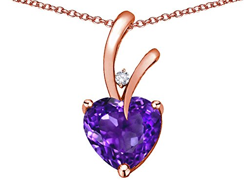 Star K Heart Shape 8mm Genuine Amethyst Endless Love Pendant Necklace 10 kt Rose - Amethyst Gold Pendant Round
