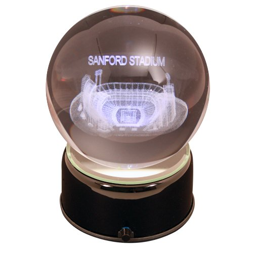 - NCAA Georgia Bulldogs Sanford Stadium Etched Lit Rotating Musical Crystal Ball