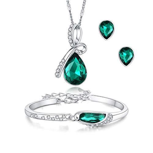 ISAACSONG.DESIGN Silver Tone Healing Crystal Rhinestone Drop Pendant Necklace, Bracelet, Earring Set for Women (Green)