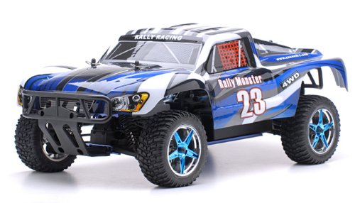 Nitro Car Control Remote Gas (Exceed RC 1/10 2.4Ghz Rally Monster Nitro Gas Powered RTR Off Road Rally Car 4WD Truck Stripe BlueREQUIRED TO RUN and SOLD SEPARATELY: STARTER KIT)