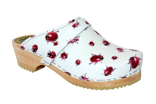 Lotta From Stockholm Swedish Clogs : Classic Clog in Ladybug Pattern Leather