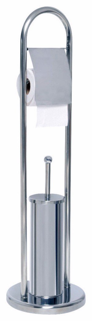 Stainless Steel Free Standing Toilet Paper Roll Holder Dispenser with Bowl Brush Combo- Toilet Tissue Stand Bathroom Accessory Set