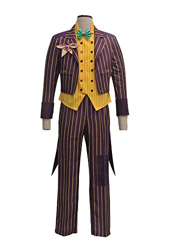 (VOSTE Joker Costume Halloween Cosplay Party Outfit Arkham Asylum Suit for Men (X-Large, Full)