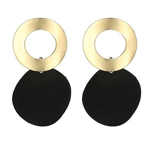 Nihewoo Women Hoop Earrings Dangle Statement Earrings Round Circle Earrings Ear Stud Earrings Jewelry Birthday Gifts (Black)