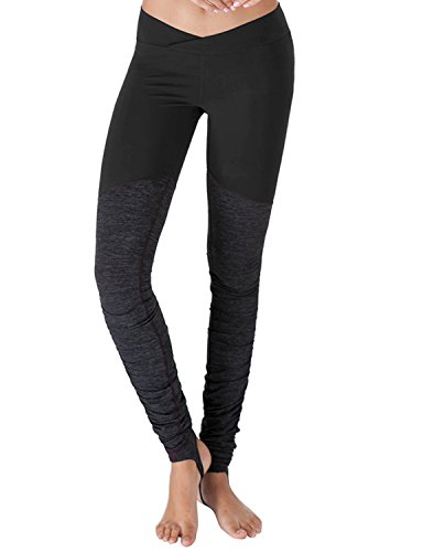 Yoga Reflex - Mesh Stirrup Hatha Yoga Pants for Women, BLACK, 2XL