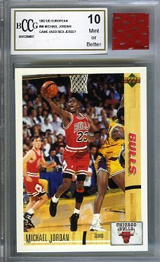 1992 Upper Deck European #38 Michael Jordan with Piece of Authentic Michael Jordan Chicago Bulls Red Game Used Jersey Graded BGS BECKETT 10 MINT GGUM - Michael Jersey Jordan Authentic