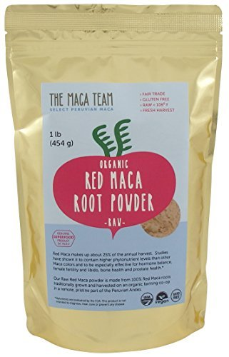 Certified Organic Raw Red Maca Root Powder - Highest Nutrients of All Maca, Fresh Harvest From Peru, Certified Organic, Fair Trade, Gmo-free, Gluten Free Vegan and Raw, 50 Servings, 1 Lb. Pouch