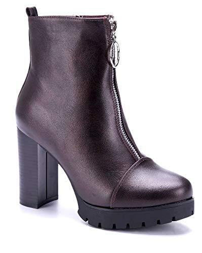 69b59a4784e1f9 Schuhtempel24 Damen Schuhe Plateau Stiefeletten Stiefel Boots rot  Blockabsatz Reißverschluss 10 cm High Heels